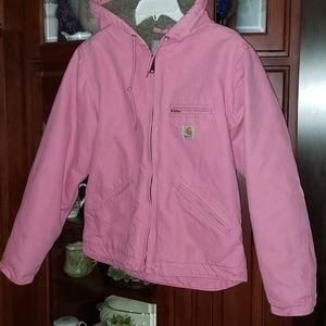 Pink Carhartt size small hooded jacket